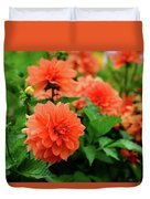 Orange Flowers Duvet Cover