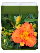 Orange Gladiola Flower And Buds Duvet Cover