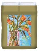 Orange Gladiolus In Vase Duvet Cover