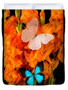 Orange Glads With Two Butterflies Duvet Cover