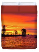 Orange Glow Sunset At Sunset Beach In Vancouver Bc Duvet Cover