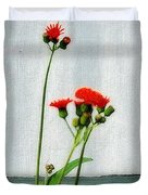 Orange Hawkweed Over Gray Muslin Duvet Cover