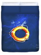 Orange Life Buoy In Blue Water Duvet Cover