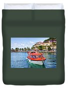 Orange Lifeboats Across Colorful Bay Duvet Cover