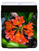 Orange Trumpet Flowers At Pilgrim Place In Claremont-california Duvet Cover