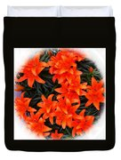 Orange Lilies Vignette Duvet Cover
