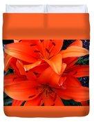 Orange Lily Closeup Digital Painting Duvet Cover