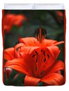 Orange Lily Digital Painting Duvet Cover