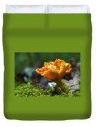Orange Mushroom Flower On The Forest Floor Duvet Cover