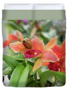 Orange Orchids 2 Duvet Cover