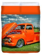 Orange Pick Up At The Car Show Duvet Cover