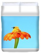 Orange Pop Flower Cafe Duvet Cover