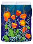 Orange Poppies And Forget Me Nots Duvet Cover