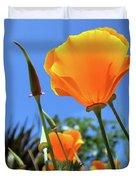 Orange Poppy Blue Sky Duvet Cover