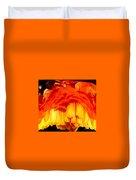 Orange Ranunculus Polar Coordinate Duvet Cover