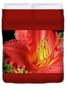 Orange-red Day Lily Duvet Cover