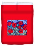 Orange  Red Poppies Duvet Cover