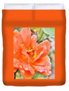 Orange Rose Raindrops Duvet Cover