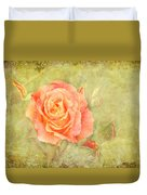 Orange Rose With Old Paint Texture Background Duvet Cover