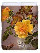 Orange Roses In A Blue And White Jug Duvet Cover