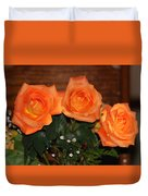 Orange Roses With Babysbreath Duvet Cover