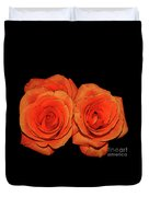 Orange Roses With Hot Wax Effects Duvet Cover