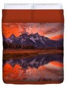 Orange Skies Over The Tetons Duvet Cover