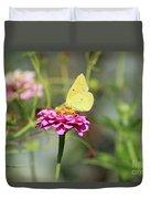 Orange Sulphur Butterfly In Garden Duvet Cover