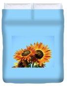 Orange Sunflowers Summer Blue Sky Art Prints Baslee Duvet Cover