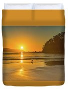 Orange Sunrise Seascape And Beach Duvet Cover