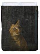 Orange Tabby Cat Looking Duvet Cover