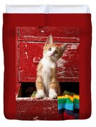 Orange Tabby Kitten In Red Drawer  Duvet Cover