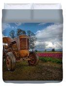 Orange Tractor At Tulip Field Duvet Cover
