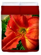 Orange Trumpeting Lily Duvet Cover