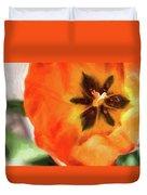 Orange Tulip Bloom Duvet Cover
