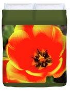 Orange Tulip Flowers In Spring Garden Duvet Cover