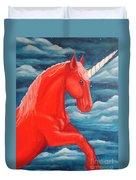 Orange Unicorn Duvet Cover