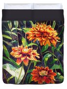 Orange Zinnias Duvet Cover