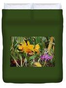 Orangepurple Orchids Duvet Cover