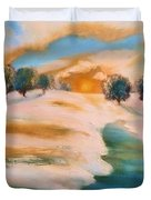 Oranges In The Snow-landscape Painting By V.kelly Duvet Cover