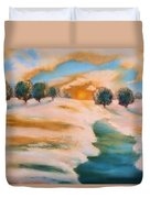 Oranges In The Snow-landscape Painting By V.kelly Duvet Cover by Valerie Anne Kelly