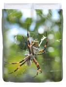 Orb Weaver Spider And Prey In A Web Duvet Cover
