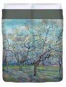 Orchard With Blossoming Plum Trees   Duvet Cover