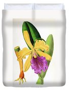 Orchid, Cattleya Dowiana, 1880 Duvet Cover