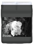 Orchid In Black And White Duvet Cover