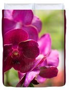 Orchid Vanda Ratchaburi Waxy Red Duvet Cover