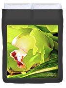 Orchid With Yellow And Green 2 Duvet Cover