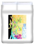 Orchids And Blue Vase Duvet Cover