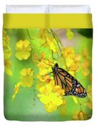 Orchids And Butterfly Painting Duvet Cover