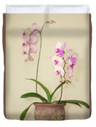 Orchids On Sideboard Duvet Cover